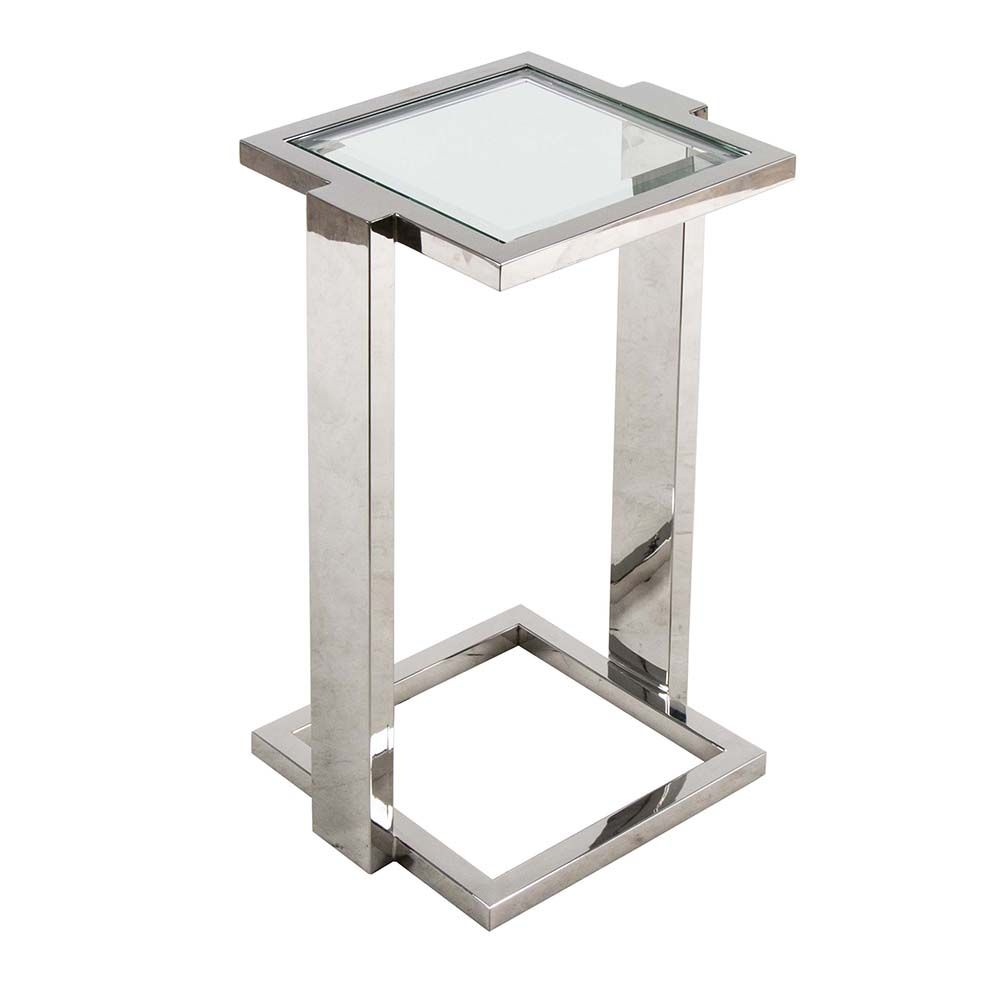Small Side Table Has A Contemporary Squared Off Chrome Frame With