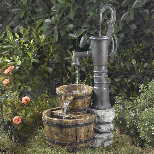 Outdoor Water Pump Half Whiskey Barrel Style Water Fountain Wasserpumpe Garten Gartenbrunnen Brunnen Garten
