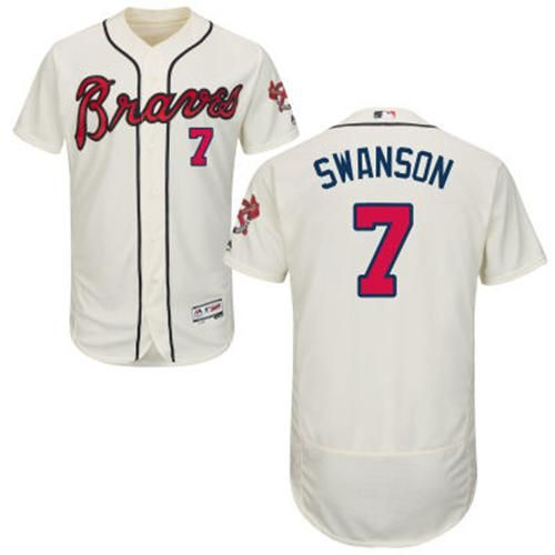 0d30724d8 Braves  7 Dansby Swanson Cream Flexbase Authentic Collection Stitched MLB  Jersey