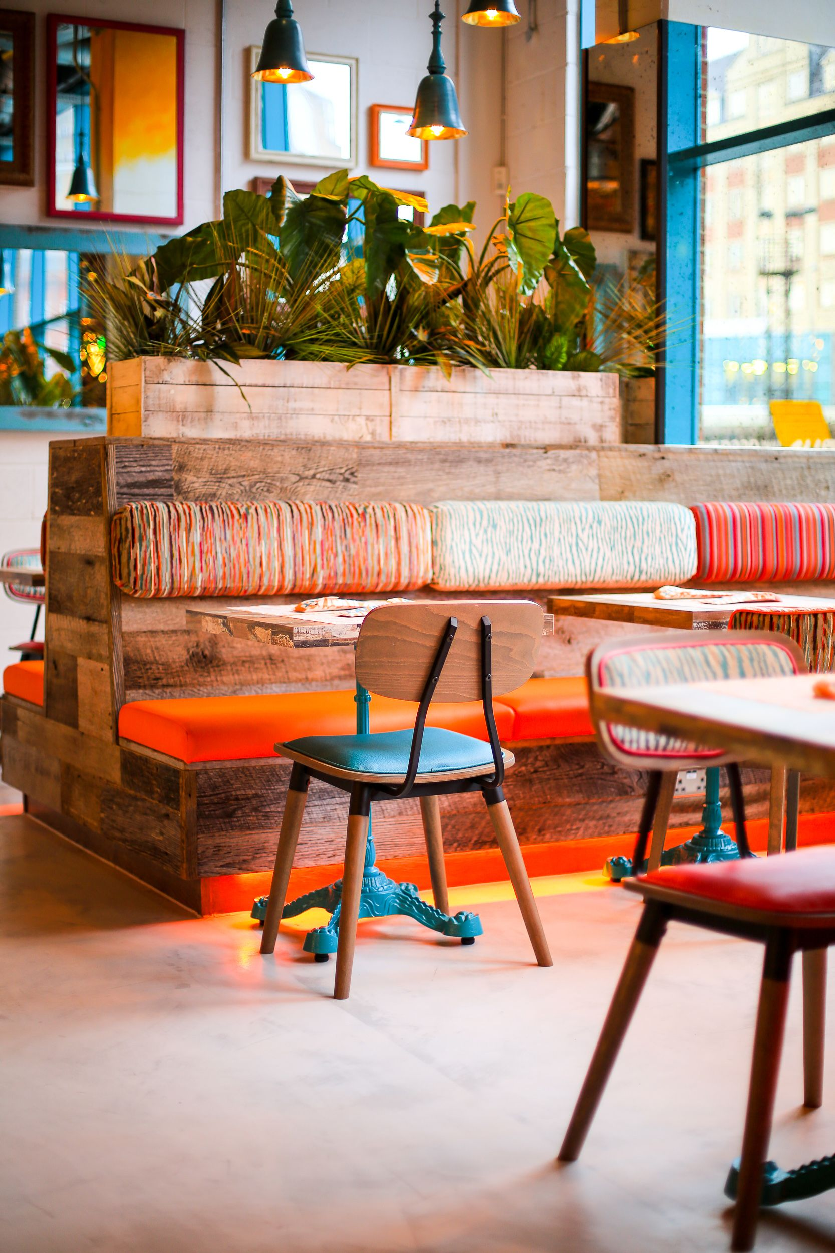 Quirky interior design for restaurants colourful fun and exciting vibrant furniture and rustic