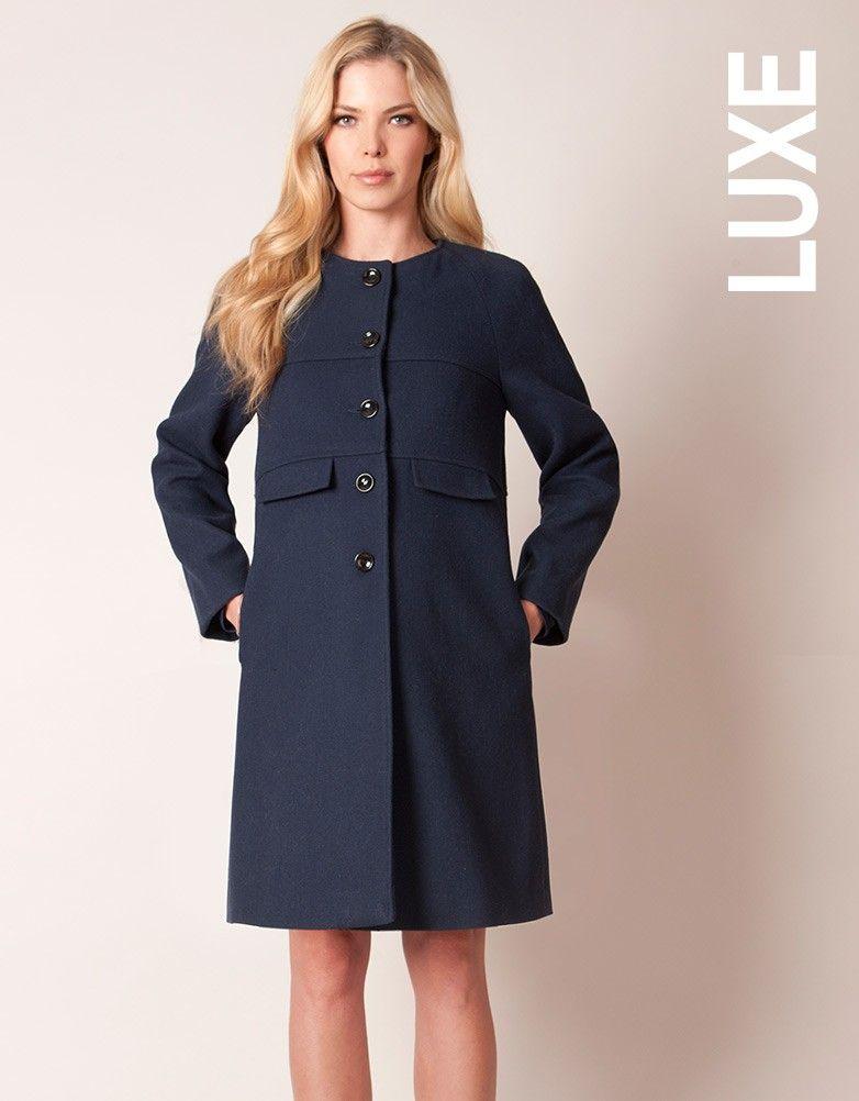 Navy Blue Wool & Cashmere Maternity Coat | Maternity coat ...