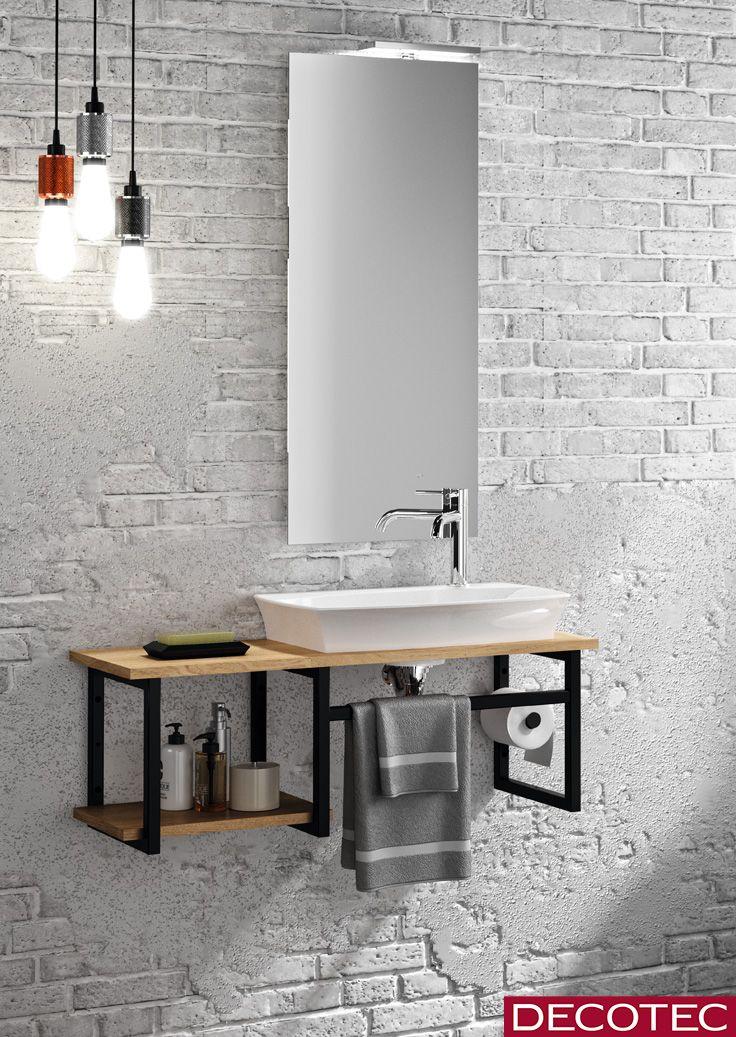 Decotec Le Lave Mains Ceramique Design Esquisse L80 Cm Epoxy Noir Mat Et Decor Chene Muebles Para Banos Modernos Muebles De Lavabo Muebles De Bano Rusticos