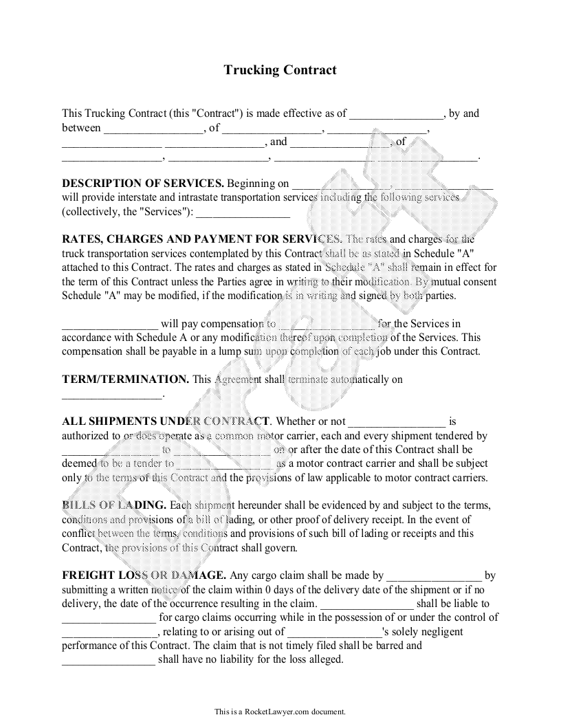 Trucking Contract Template   Independent Contractor Agreement Form ...   Truck  Driver Contract Agreement