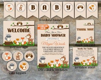 Photo of Woodland Baby Shower Party Package – Paquete de Baby Shower Animal de Woodland, Paquete de Baby Shower para imprimir, Paquete de ducha de Woodland – DIY