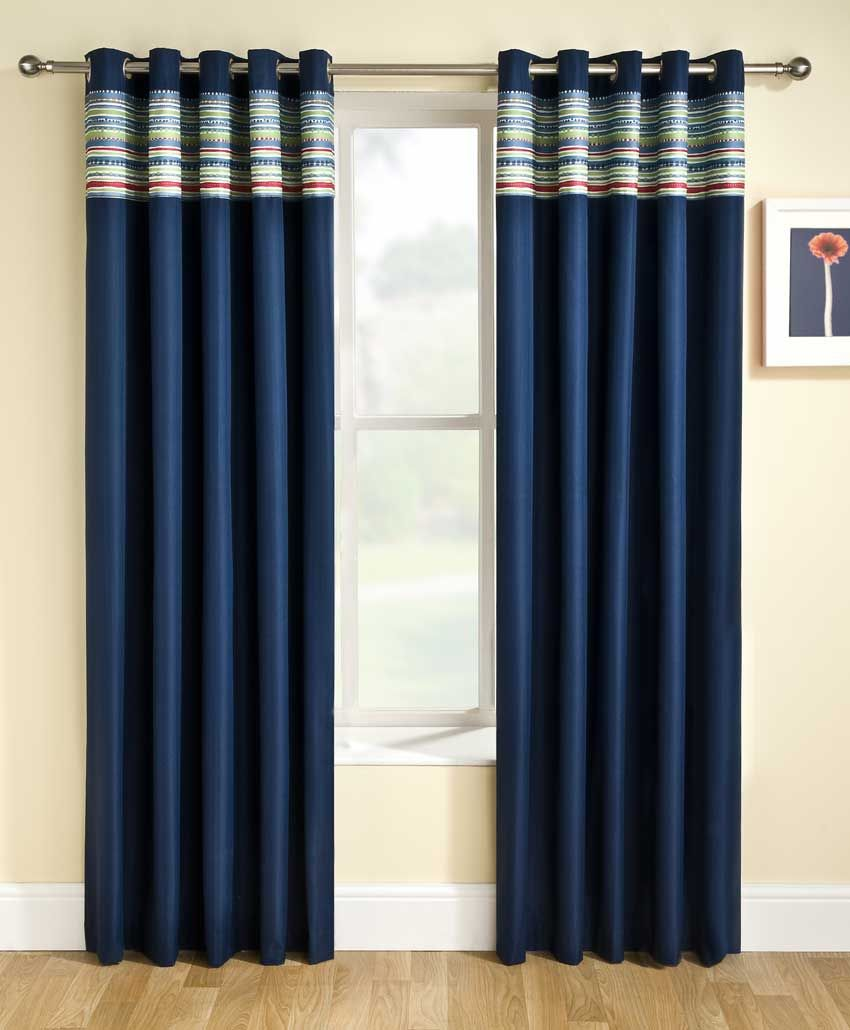 Perfect Dark Blue Theme Bedroom Curtains With Horizontal Stripe Pattern Top  Curtains Space And Modern Metal Chrome Pole That Have Double Side Space  Finials ...