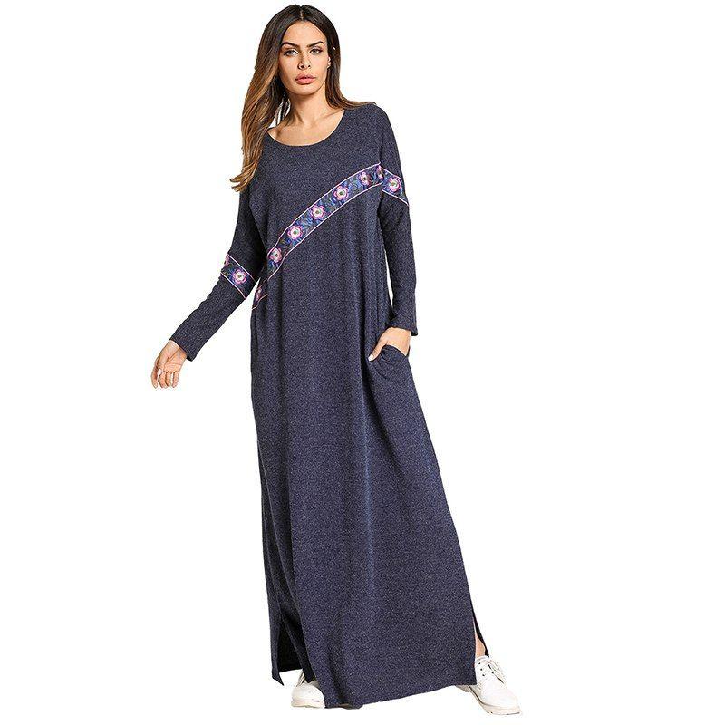 53ce64d44d506 Повседневное мусульманских Вышивка Макси платье Абаи вязаный длинный халат  платья кимоно свободные Стиль jubah Рамадан Ближний