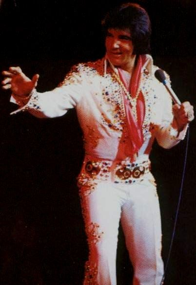 Elvis on stage at the Las Vegas Hilton in september 1973 , here the closing show of his summer season shows at the Hilton.