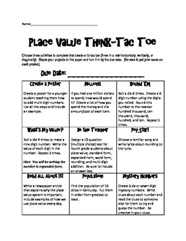 Place Value Think-Tac-Toe 4.NBT.1, 4.NBT.2, 4.NBT.3, & 4.NBT.4 ...