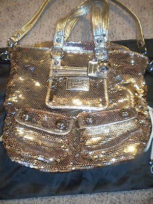 RARE Coach Poppy Spotlight Sequin Tote Bag 15383 GOLD LIMITED EDITION
