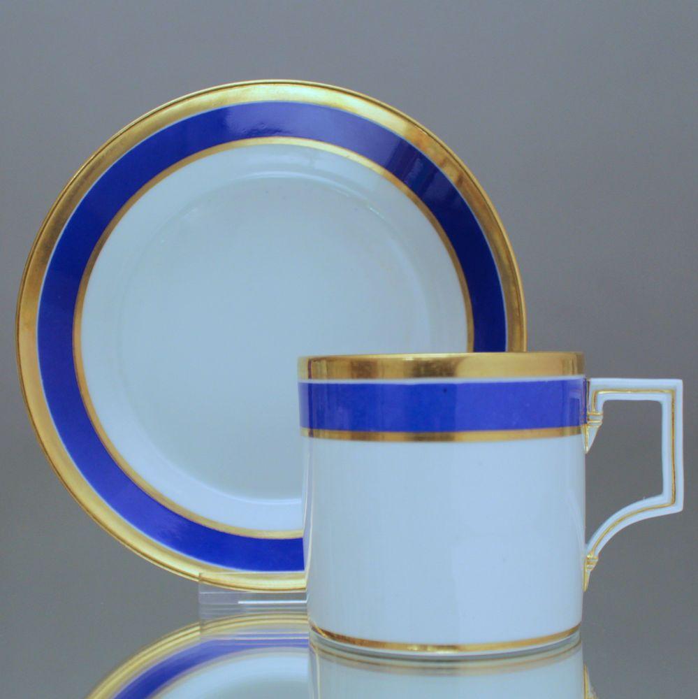 Meissen Kaffeetasse Form Berlin Tasse Zylindrisch Blau Gold Knaufschwerter Cup Glassware Tableware Porcelain