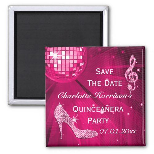 sparkly stiletto heel quinceañera save the date magnet in 2018
