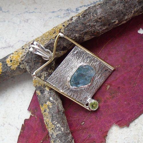 Aquamarin Druse & Peridot, teilvergoldet, Anhänger, 925 Sterling Silber in…