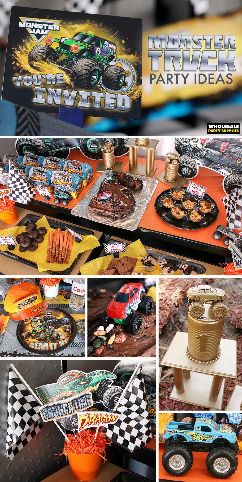Monster Truck Party In 2020 Monster Truck Birthday Party Ideas Cake Monster Trucks Birthday Party Monster Jam Birthday Party