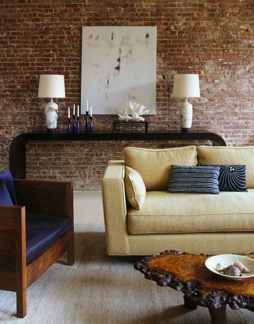 23 elegant living room with exposed brick wall | bricks, room