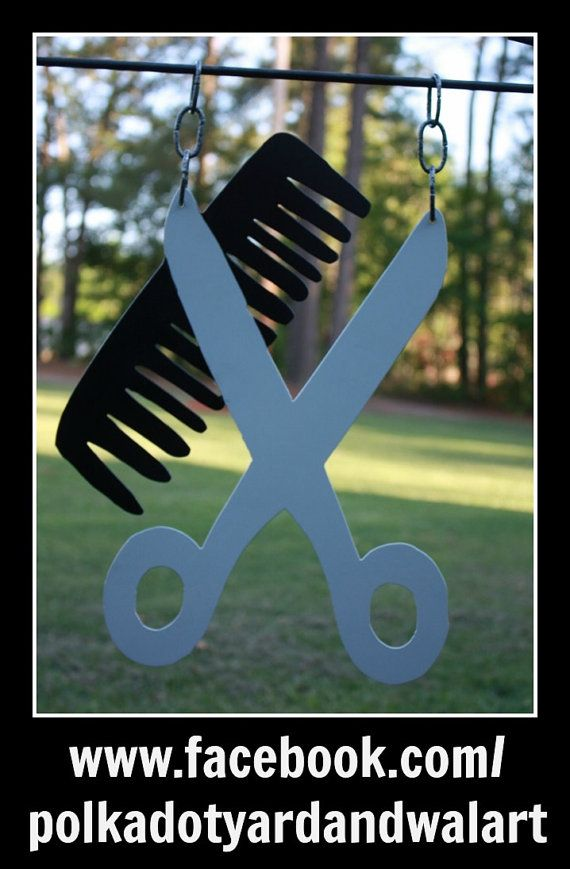 Scissors And Comb Beautician Hair Stylist Metal Flag Sign