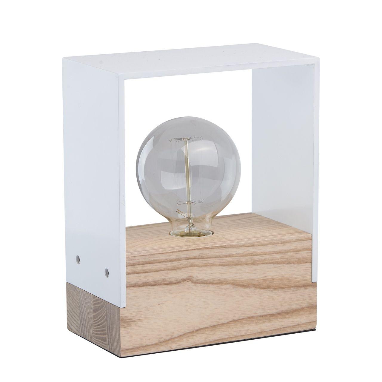 Moderne schlichte Holz Tischlampe 1 flammig Weiß