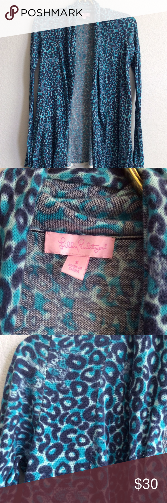 ❌SOLD❌LILLY PULITZER Blue Leopard Print Cardigan | Leopards ...