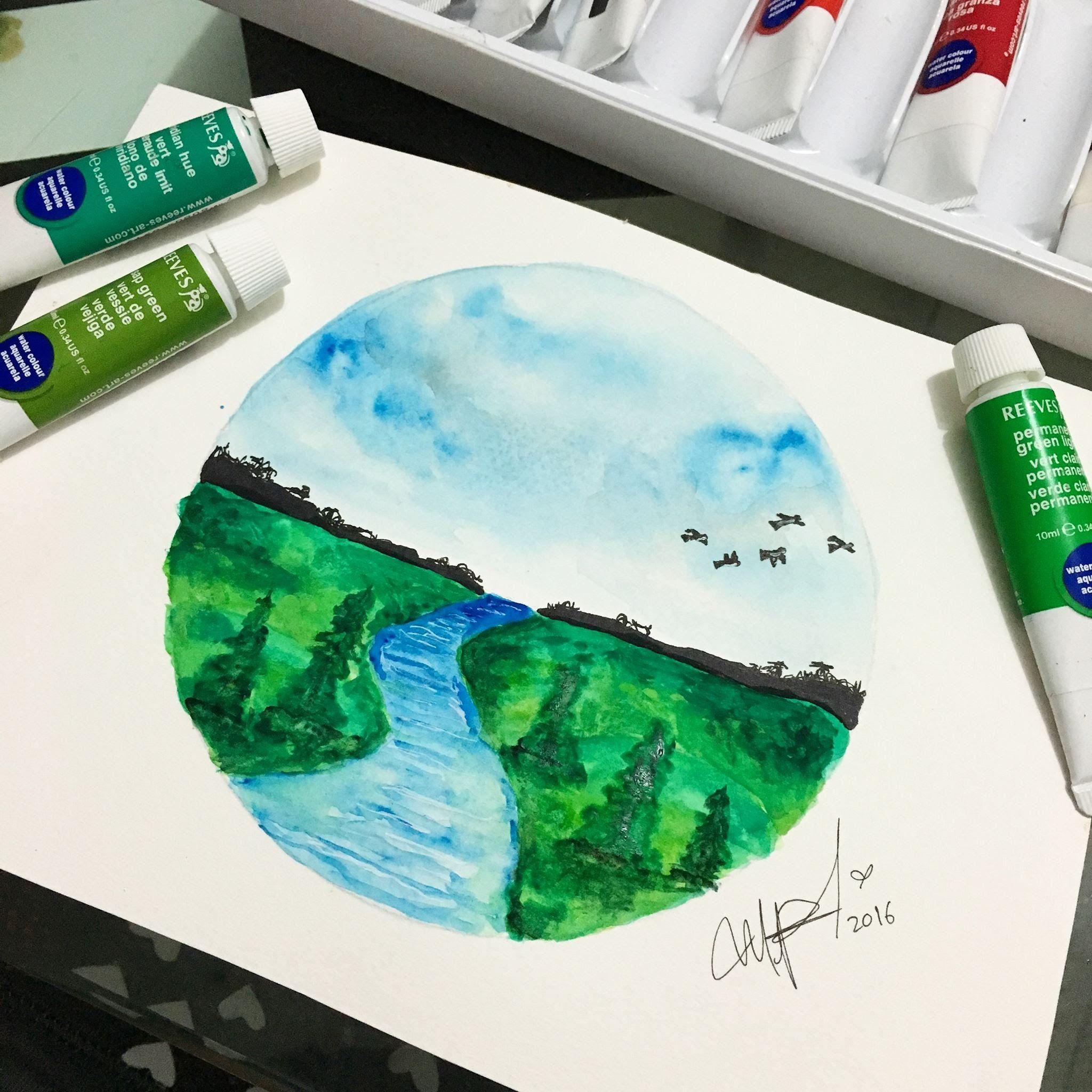 Como Dibujar Un Paisaje En Acuarelas Facil De Hacer How To Draw