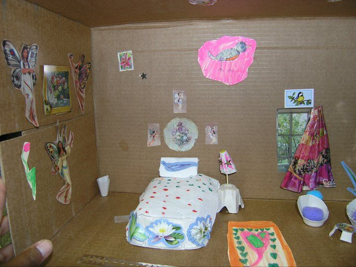 Recycled craft printer paper box doll house with for Egg carton room