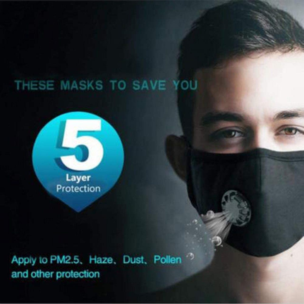 Mask AntiDust Face Filter Mask Activated Carbon PM 2.5