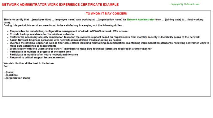 Network Administrator Work Experience Certificates Samples Cover