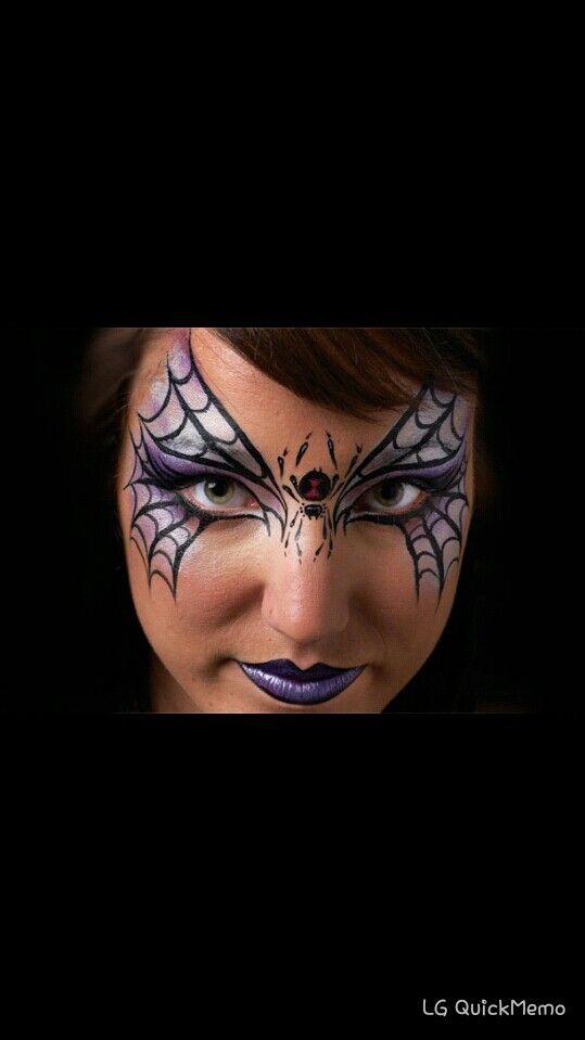 Black Widow Face Face Makeup Painting Tattoo