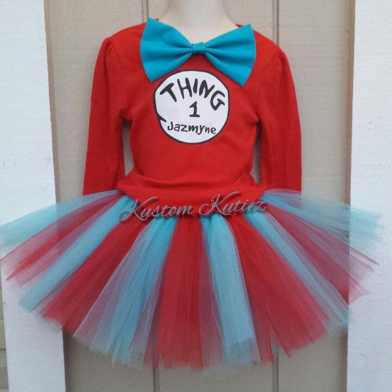 Thing 1 Baby//Toddler costume dress up Dr Sues Thing one-piece TUTU Size Small