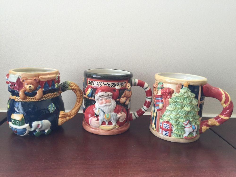 Set of 3 Certified International Susan Winget Christmas 3D Coffee Mugs Tea Cup  #CertifiedInternational
