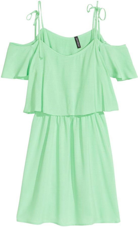 ab499668b8f8 Pastel green off-the-shoulder dress