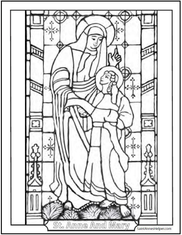 Catholic Saints Coloring Page Stained Glass Saint Anne And Mary