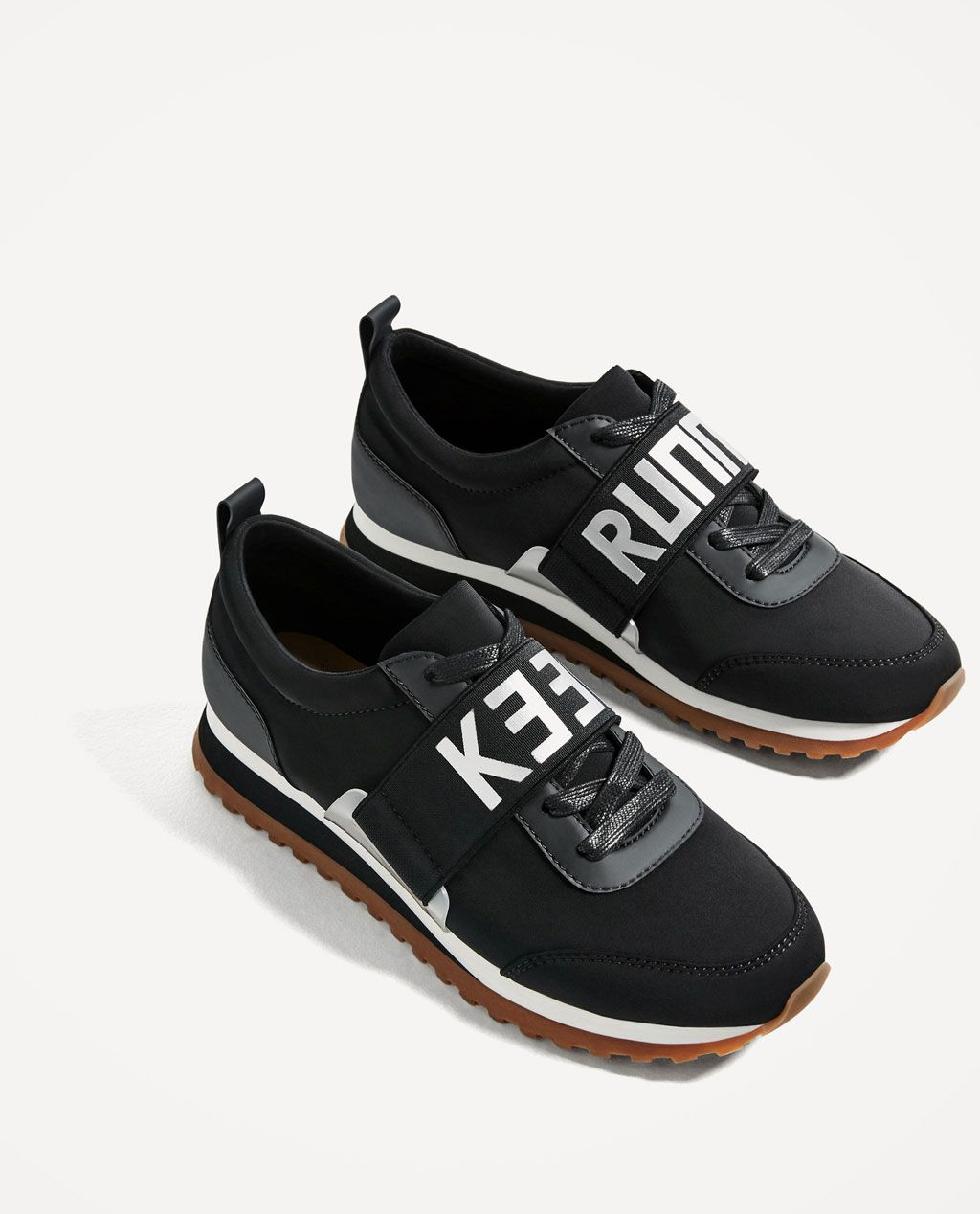 BLACK SLOGAN SNEAKERS - NEW IN