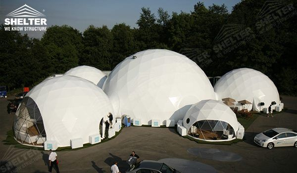 Interconnected dome tents serve as functional zones - Geodesic dome groups - Dome pavilions - Geodesic dome structures with walkway tunnels - Steel dome ... & shelter-dome-large-geodesic-dome-geodesic-dome-dome-tent ...