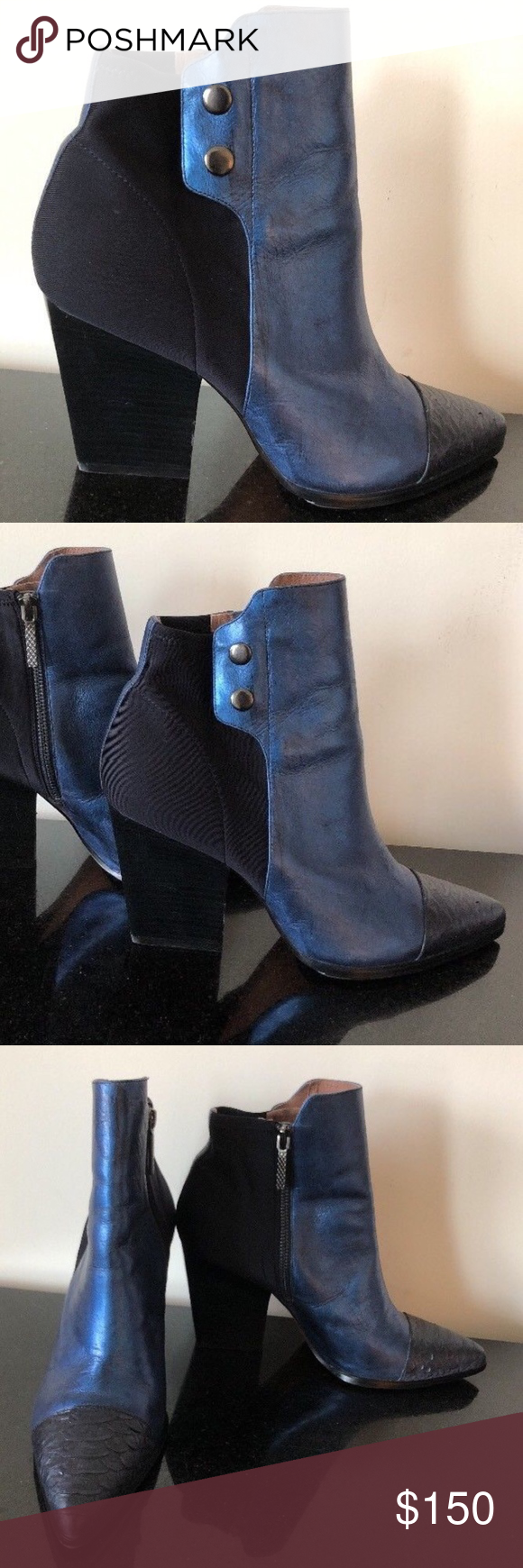 Denim Blue Stretch Fabric Ankle Boots