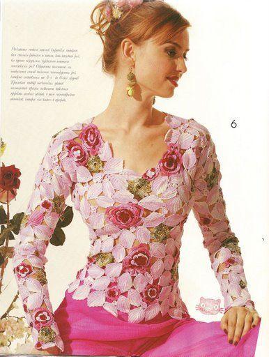 Crochet Ruso - Blusa con Hojitas y Flores | Crochet ruso | Pinterest ...