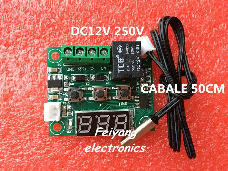 1ピースw1209 dc 12ボルトヒートクールテンプサーモスタット温度温度制御スイッチ温度コントローラ温度計サーモコントローラ50センチ