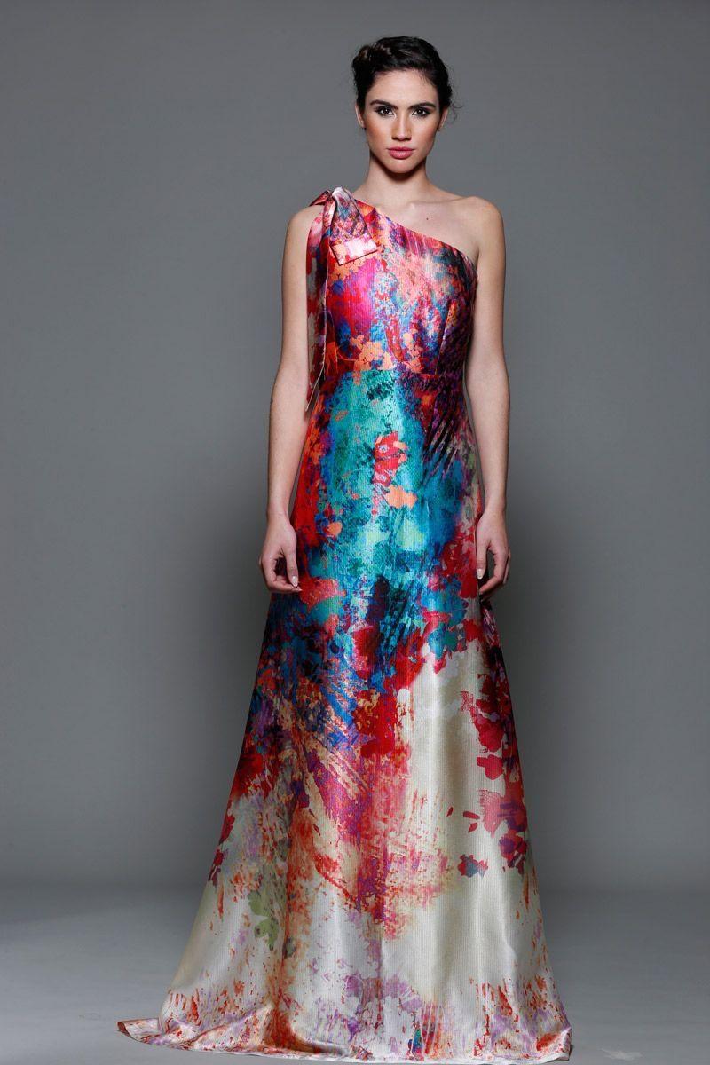 Vestido Asimétrico Estampado Lazada Canace | Bride dresses, Vestidos ...