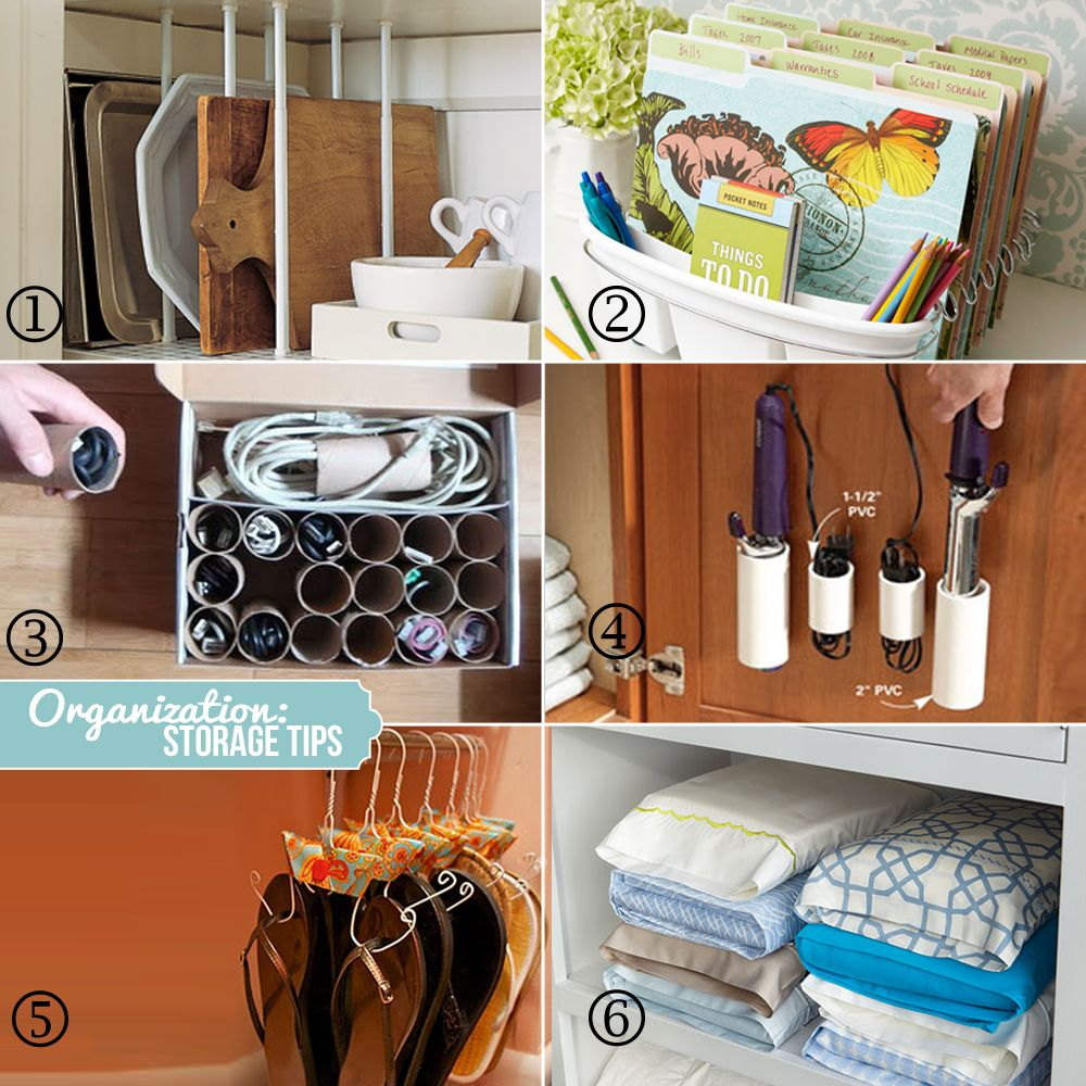 Like the loo-rolls idea. & 1. tension rods for cabinets to orgainize trays 2. use a dish rack ... pillowsntoast.com