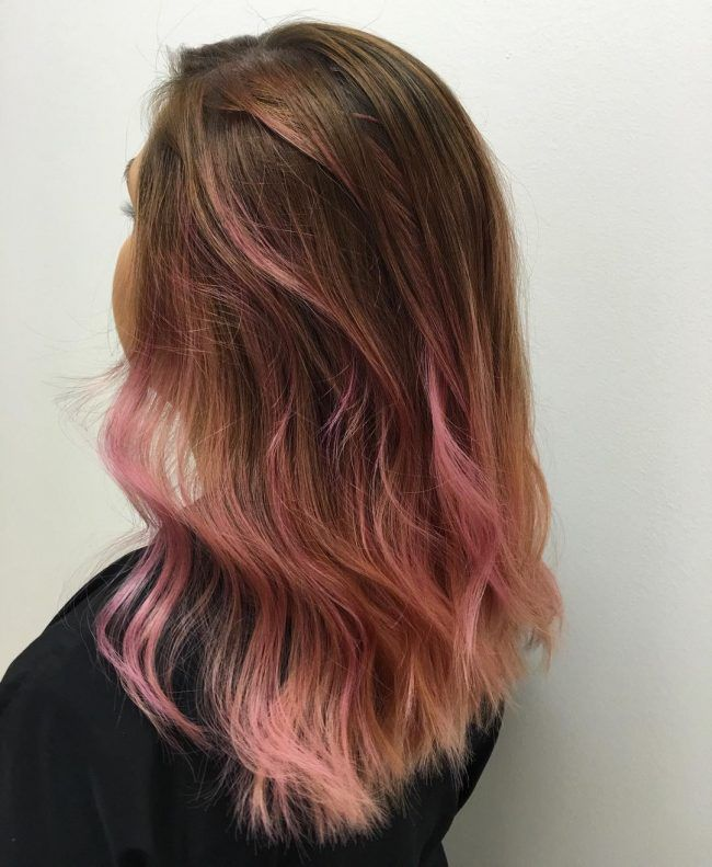 Pink Pastel For Dark To Brown Ombre Pink Ombre Hair Brown And Pink Hair Light Brown Hair