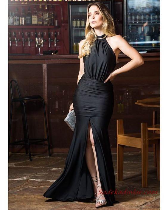 2020 Uzun Abiye Elbise Modelleri Su Yesili Uzun Ip Askili V Yakali Belden Bagcikli 2020 Elbise Elbise Modelleri The Dress