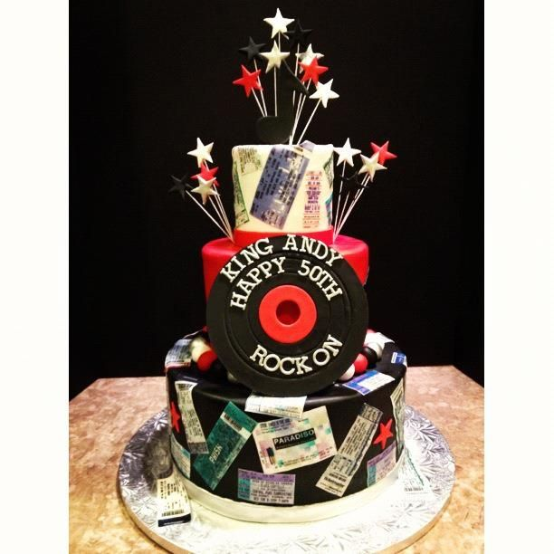 Rock Roll Birthday Cake Music Cakes Fondant Cake Toppers