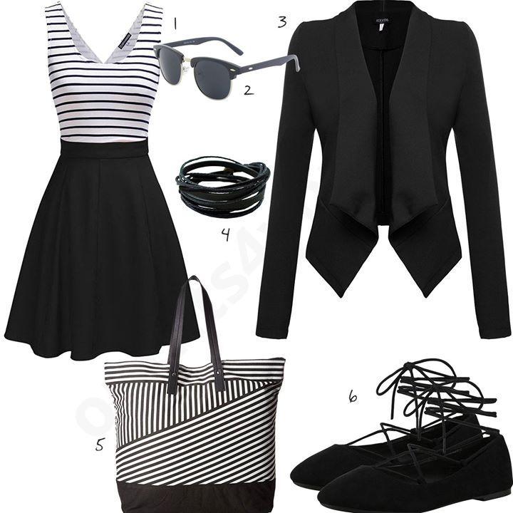 Schwarz-weißes Damen-Outfit mit Kleid (w0358 | Outfit ...