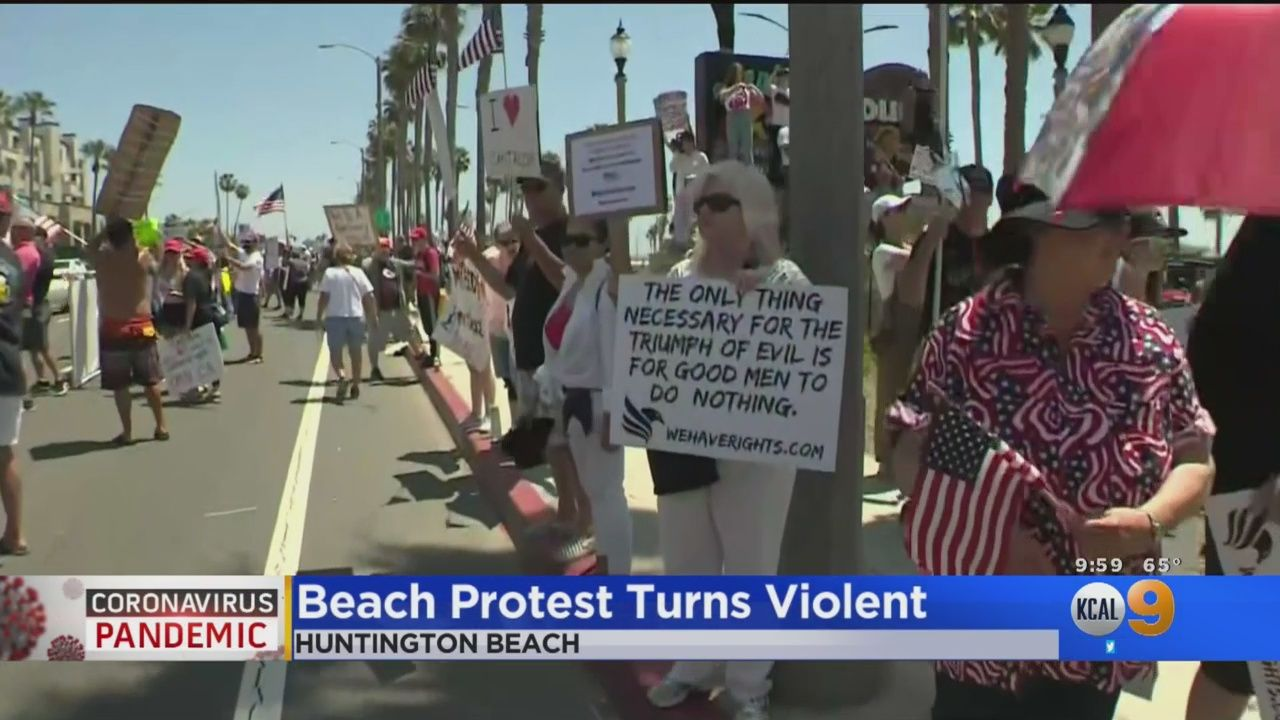 As Thousands Gathered In Huntington Beach To Demand Reopening America A Judge Denied Oc Cities Temporary Restraining Judge Huntington Beach Restraining Order