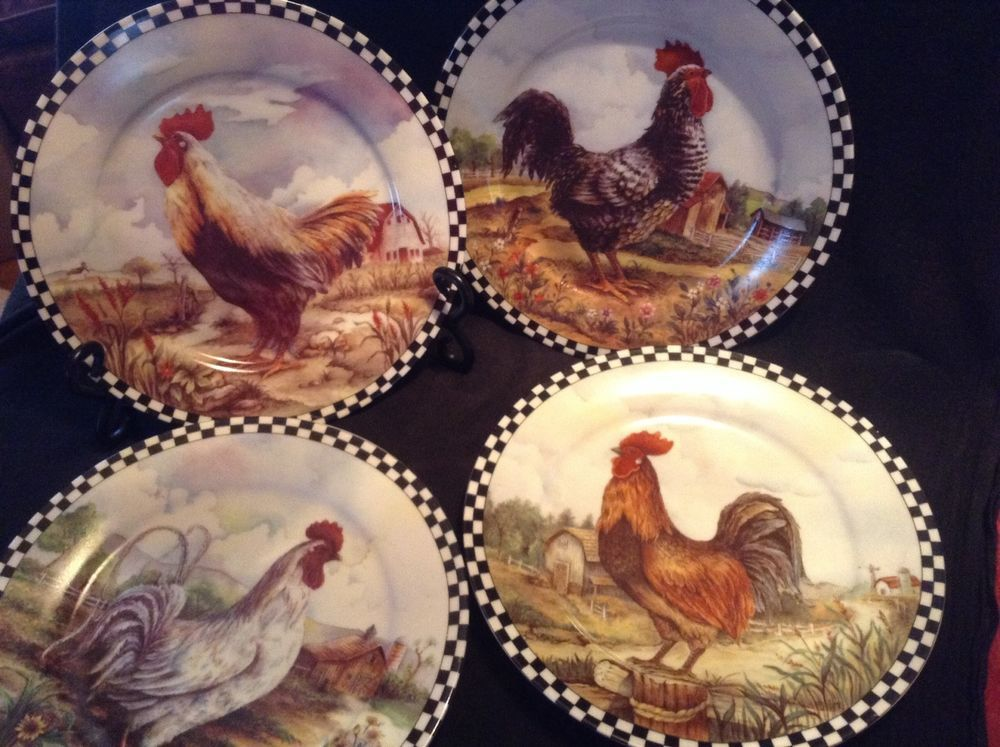 Set of 4 Decorative Rooster Plates for display only & Set of 4 Decorative Rooster Plates for display only | Great Finds ...
