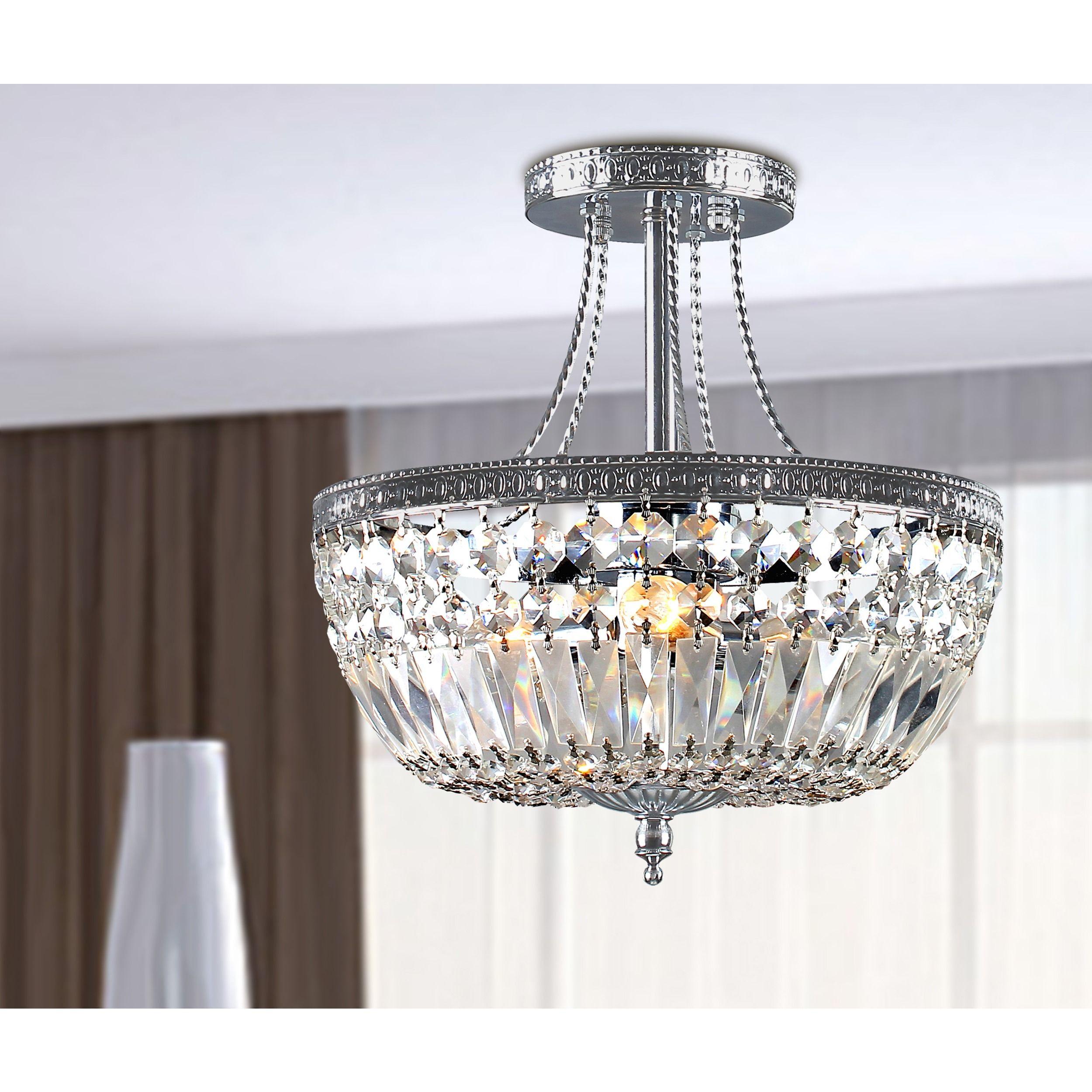 jessica crystal basket semi flush mount chrome 3 light chandelier rh pinterest com au