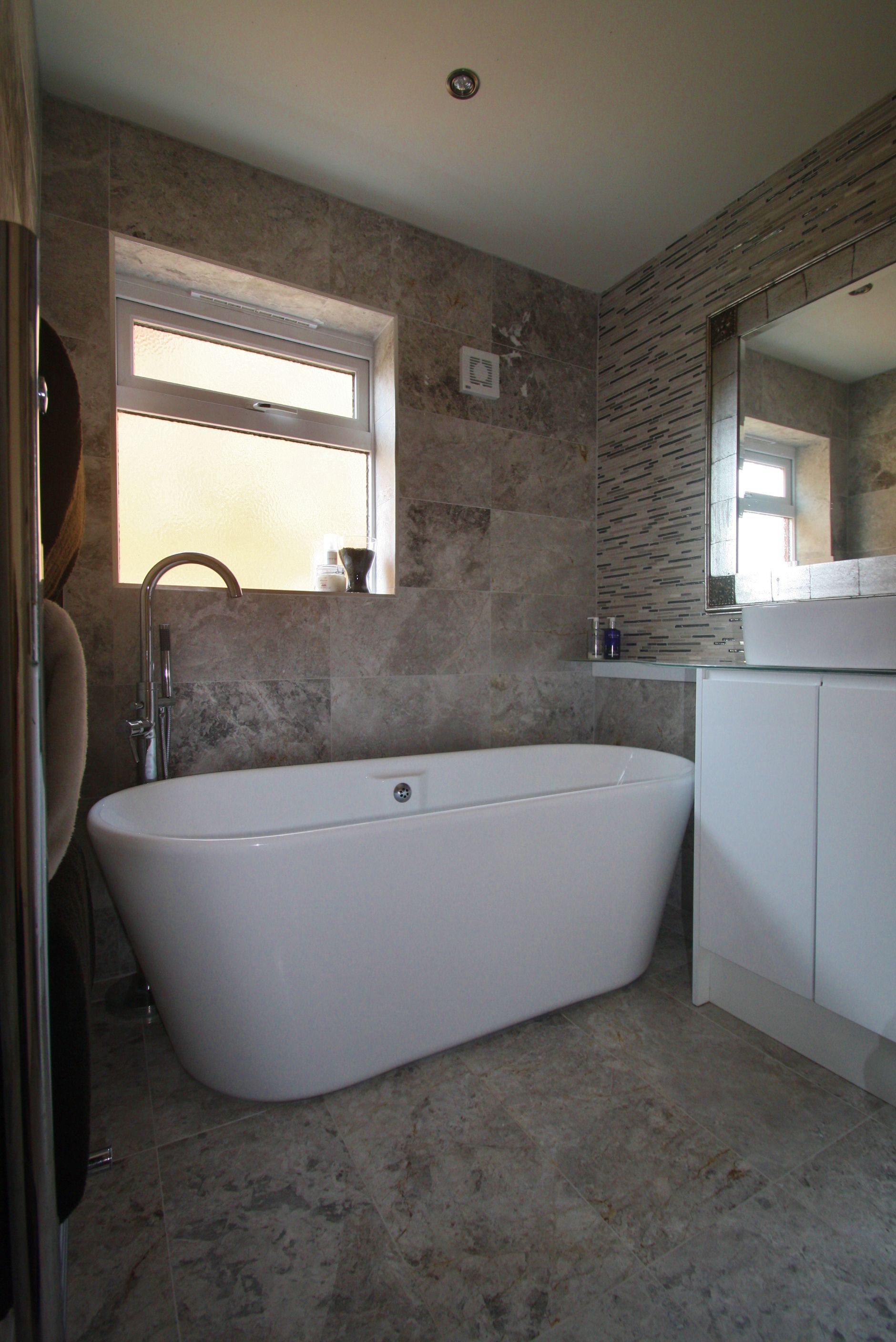 Beautiful Bathroom. White cabinets with integrated handle ...