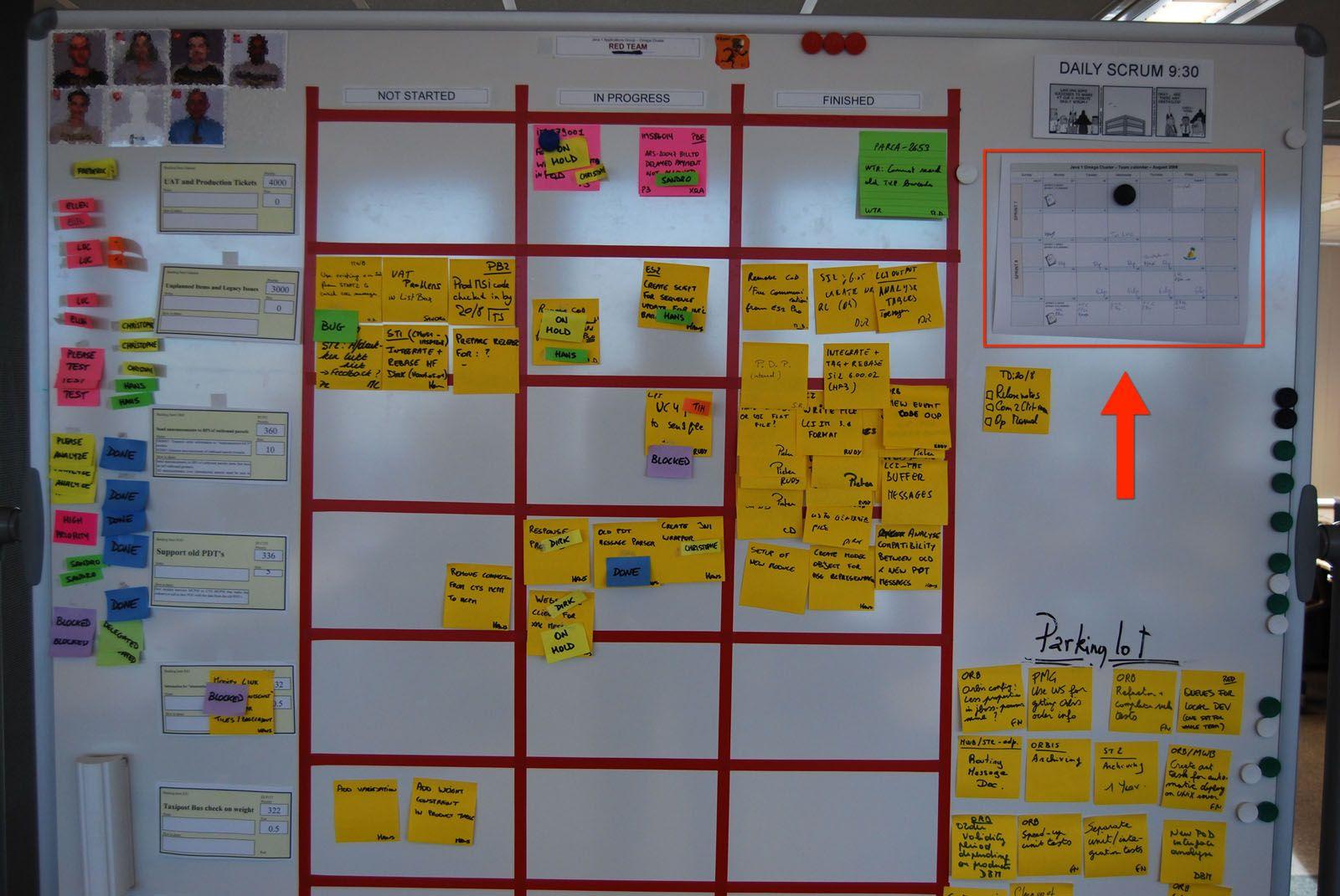 Scrum Board With Highlighted Team Calendar Agilit 233