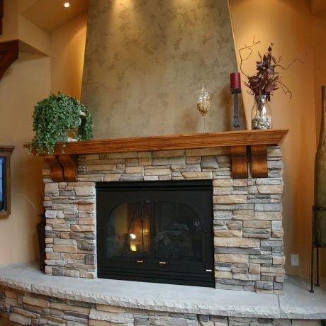 Exceptionnel Interesting Fireplace Design With Stacked Stone Wall Tiled