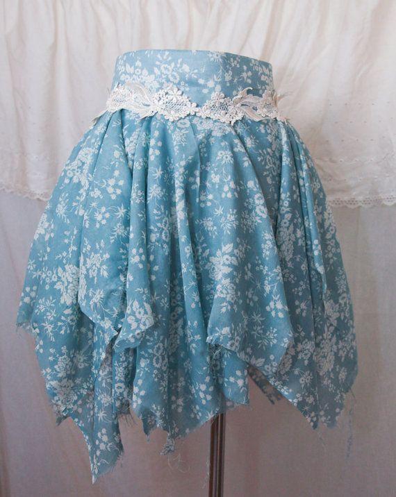 Beautiful Vintage Style Blue China Tutu Tattered Skirt by Ragavon, $25.00