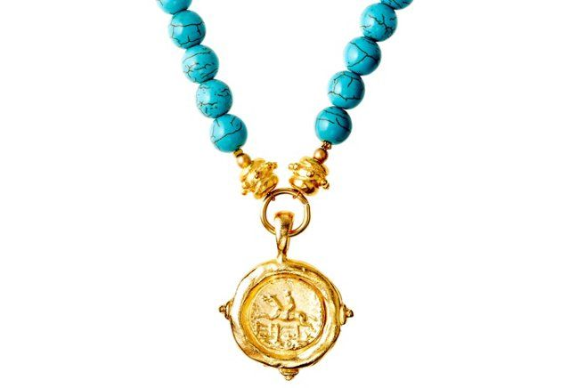 Equestrian & Turquoise Beaded Necklace