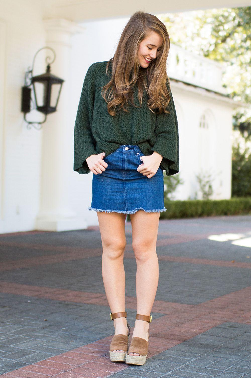 winter wedges, denim skirt, bell sleeve sweater, marc fisher wedges, suede wedges
